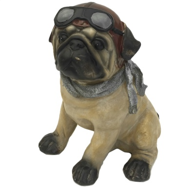 Statue Pilot Dog with Goggles and Scarf - Pug 19cm