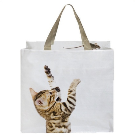 Shopping Bag w Cat and Mouse Inside Bag - White 40x40cm