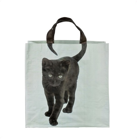 Shopping Bag w Black Cat - Blue/Black 40x40cm