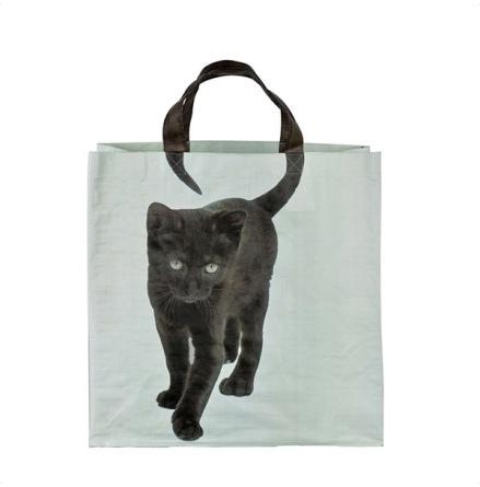 Shopping Bag w Black Cat - Blue/Black 40x40cm