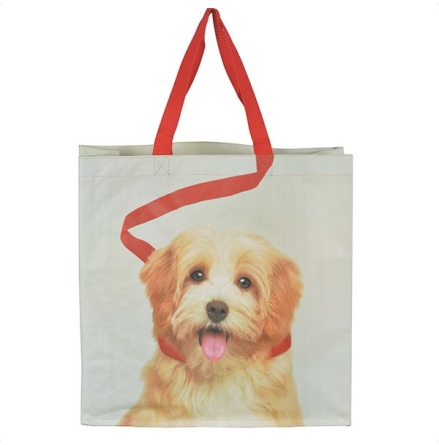 Shopping Bag w Dog in Leash - Grey/Beige/Red 40x40cm