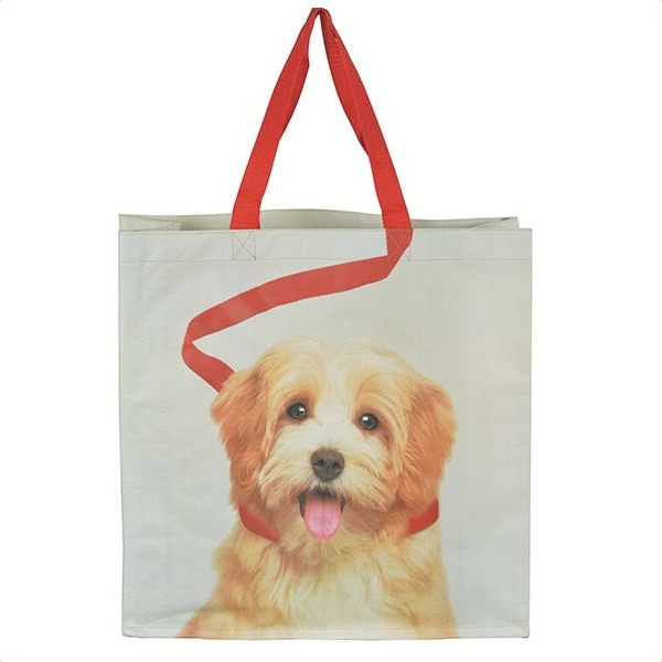 Shopping Bag w Dog in Leash - Grey/Beige/Red 40x40cm