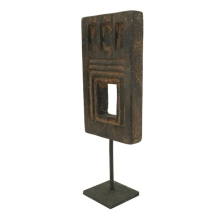 Handmade Rectangular Wooden Decoration w Iron Base - Brown aprox: 32x13cm