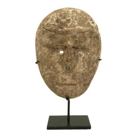 Handmade Wooden Little Mask on Black Iron Base - Brown Hight aprox:19,5cm