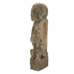 Handmade Wooden Statue Sitting Man 1pc - Brown Hight: aprox 29-32cm