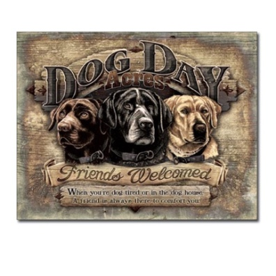 Metal Sign with Dogs - Brown 41x32cm