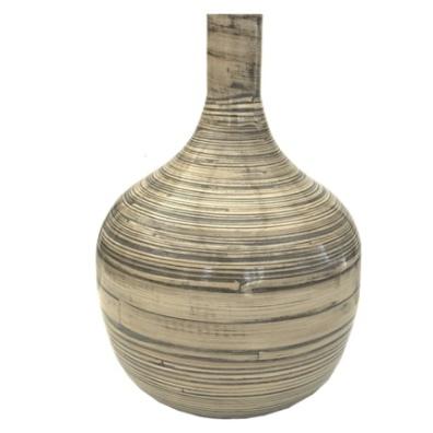 Decoration Vase in Lacquered Bamboo - Beige Hight:36cm Diam:26cm