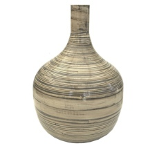Decoration Vase in Lacquered Bamboo - Beige Hight:36cm Diam:26cm