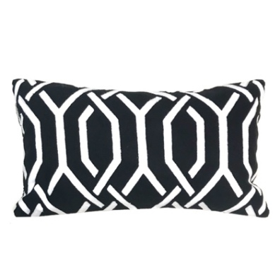 Savona Cushion - Black/White 50x30cm