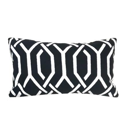Savona Cushion - Black/White 50x30cm