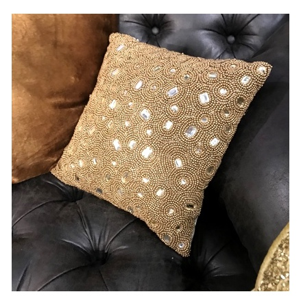 Sukhothai Cushion with Hand Made Golden Beads - Gold 30x30cm
