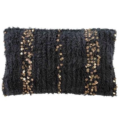 Boheme Cushion with Copper Sequins - Charcoal 60x40cm