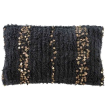 Boheme Cushion with Copper Sequins - Charcoal 60x40cm