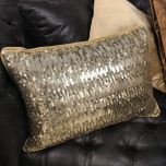 Cannes Cushion with Golden Sequins - Gold 50x35cm