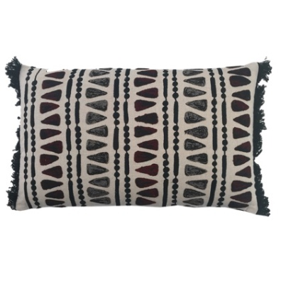 Jabalpur Cushion with Soft Triangular Pattern - Beige/Grey/Red 50x30cm