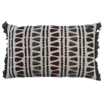 Jabalpur Cushion with Soft Triangular Pattern - Beige/Grey/Red 50x30cm