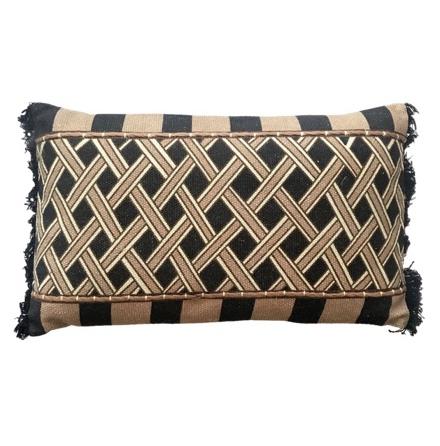 Narok Ethnic Hand Sewn Cushion - Beige/Black 60x35cm