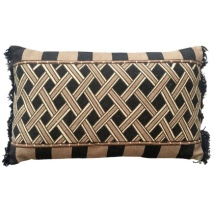 Narok Ethnic Hand Sewn Cushion - Beige/Black 60x35cm