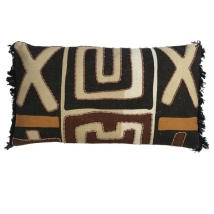 Kitale Hand Sewn Cushion - Brown/Beige/Black/Terracotta 60x35cm