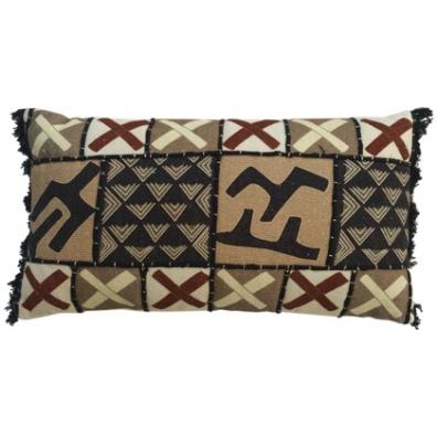 Anseba Hand Sewn Canvas Cushion - Beige/Brown/Black 60x35cm