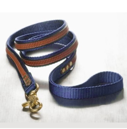 Leather and nylon Leash Navy