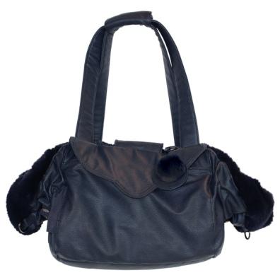 2in1 Luxury Pet Bag & Bed 55x30x20cm - Navy Blue