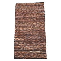Leather Hand Braided Rug with Diamond Shapes - Brown 140x80cm