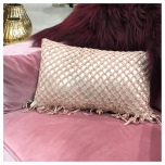 Cushion Hand Knotted - Light Gold/Pouder Pink 50x30cm