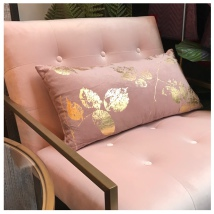 Velvet Cushion w Leaves - Pink/Gold 60x30cm