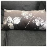 Velvet Cushion w Leaves - Grey/Silver 60x30cm