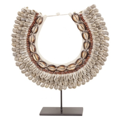 4 Row Shell Necklace on Stand or for Hanging - Grey/Brown H:40cm W:35cm