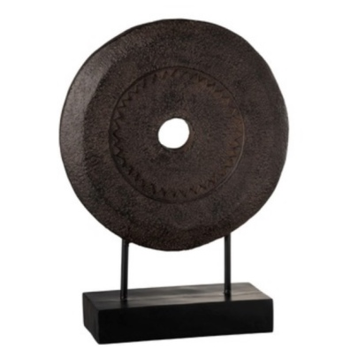 Deco Wood Ring on Stand - Dark Brown