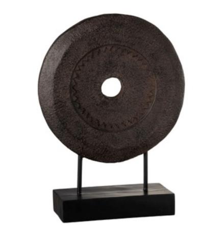 Deco Wood Ring on Stand - Dark Brown H:47cm Diam:34cm 2800gr