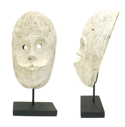 Hand Carved Wood Face with Swirls on Stand - Beige H:47cm Width:22cm