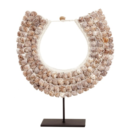 Shell Necklace 4 Rows on Stand or for Hanging - Beige H:45cm Width:34cm