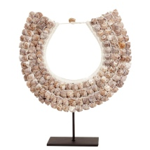 Shell Necklace 4 Rows on Stand or for Hanging  - Beige