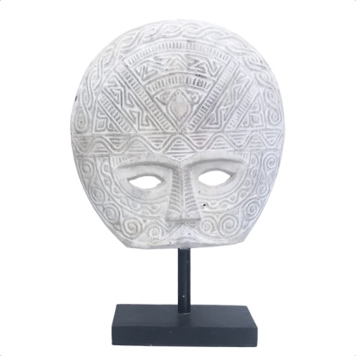 Wooden Half Face on Stand - White