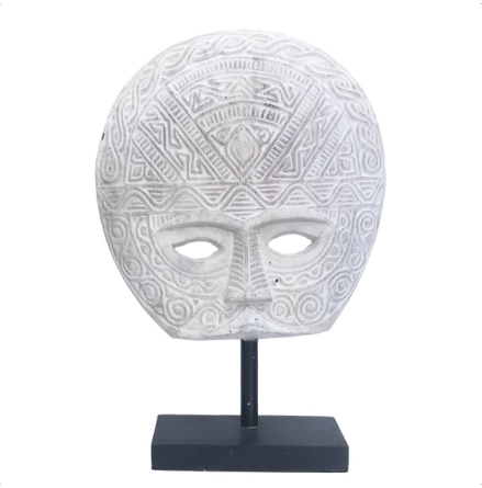 Wooden Half Face on Stand - White H:45,5cm W:31,5cm