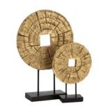 Round Wood Board - Gold L Diam:35x2cm H:52 W:10cm 2660gr