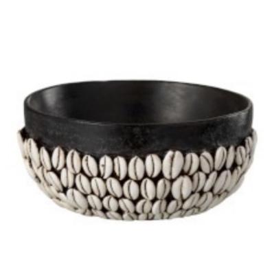 Round Shell Bowl Polyresin Black/White