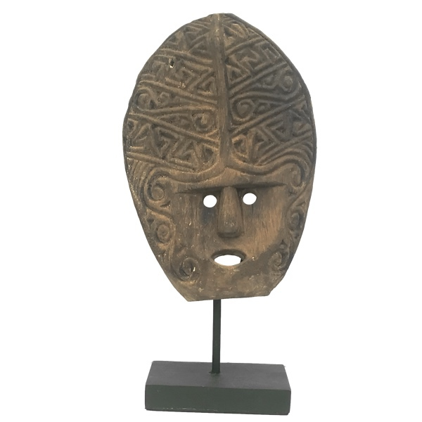 Natural Wood Face on Stand - Brown H:43cm Width:21cm