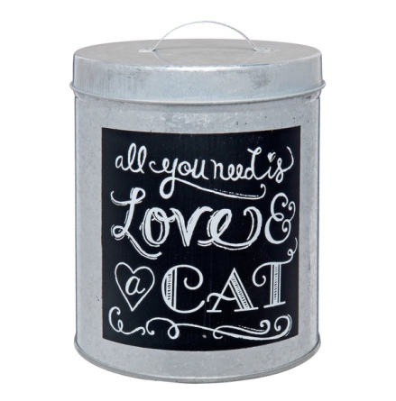 Tin Jar Love & Cat - 17x12cm