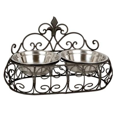 Iron Double Pet Bowl - Black 2x550cl