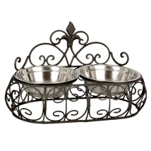 Iron Double Pet Bowl - Black 2x550cl