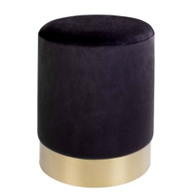 Velvet Pouf w Golden Base - Black