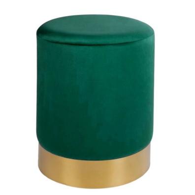 Velvet Pouf w Golden Base - Green