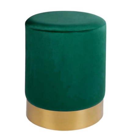 Velvet Pouf w Golden Base - Green 40x30cm