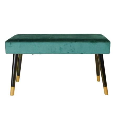 Velvet Couch w Wooden Legs - Green/Black/Gold L:78cm W:30cm H:45cm