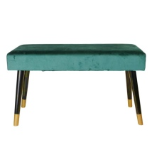 Velvet Couch w Wooden Legs - Green/Black/Gold