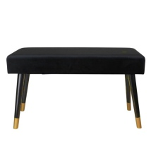 Velvet Couch w Wooden Legs - Black/Black/Gold